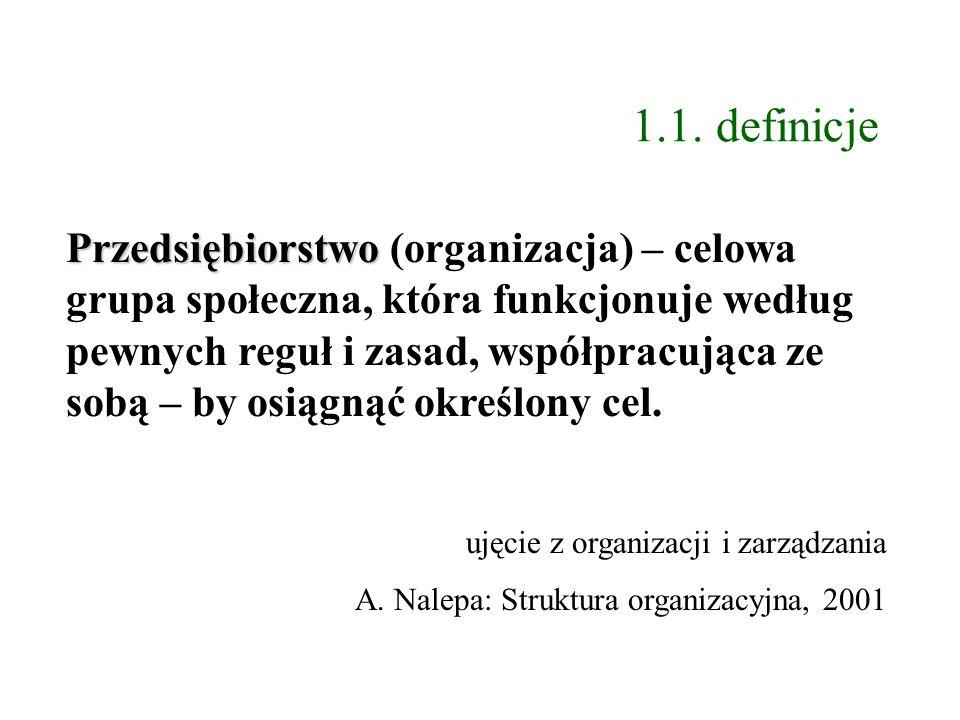 1.1. definicje Przedsiębiorstwo Przedsiębiorstwo (organizacja) – celowa grupa społeczna, która funkcjonuje według pewnych reguł i zasad, współpracując
