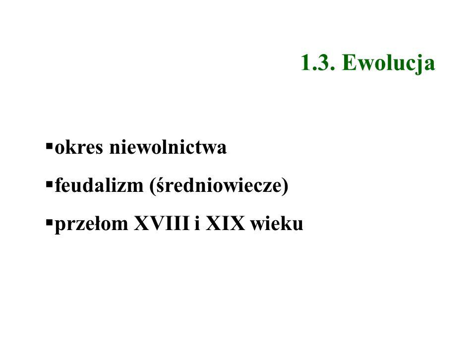 1.3. Ewolucja okres niewolnictwa feudalizm (średniowiecze) przełom XVIII i XIX wieku