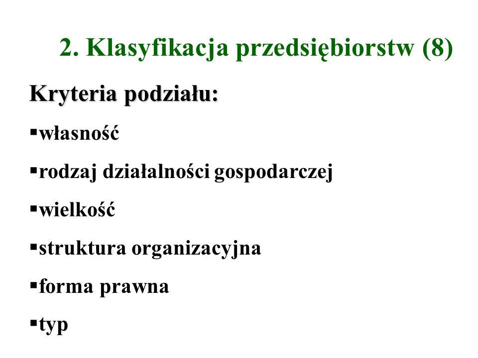 2. Klasyfikacja przedsiębiorstw (8) Kryteria podziału: własność rodzaj działalności gospodarczej wielkość struktura organizacyjna forma prawna typ