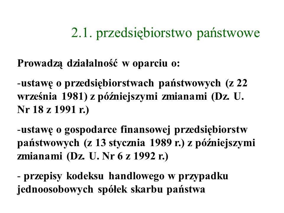 2.1. przedsiębiorstwo państwowe Prowadzą działalność w oparciu o: -ustawę o przedsiębiorstwach państwowych (z 22 września 1981) z późniejszymi zmianam