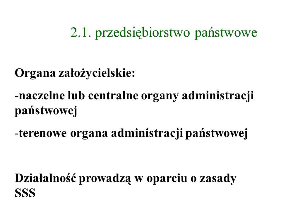2.1. przedsiębiorstwo państwowe Organa założycielskie: -naczelne lub centralne organy administracji państwowej -terenowe organa administracji państwow