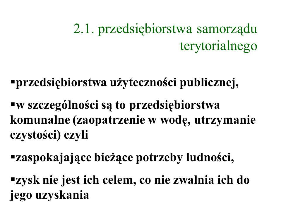 2.1. przedsiębiorstwa samorządu terytorialnego przedsiębiorstwa użyteczności publicznej, w szczególności są to przedsiębiorstwa komunalne (zaopatrzeni