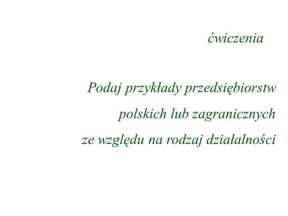 ćwiczenia Podaj przykłady przedsiębiorstw polskich lub zagranicznych ze względu na rodzaj działalności