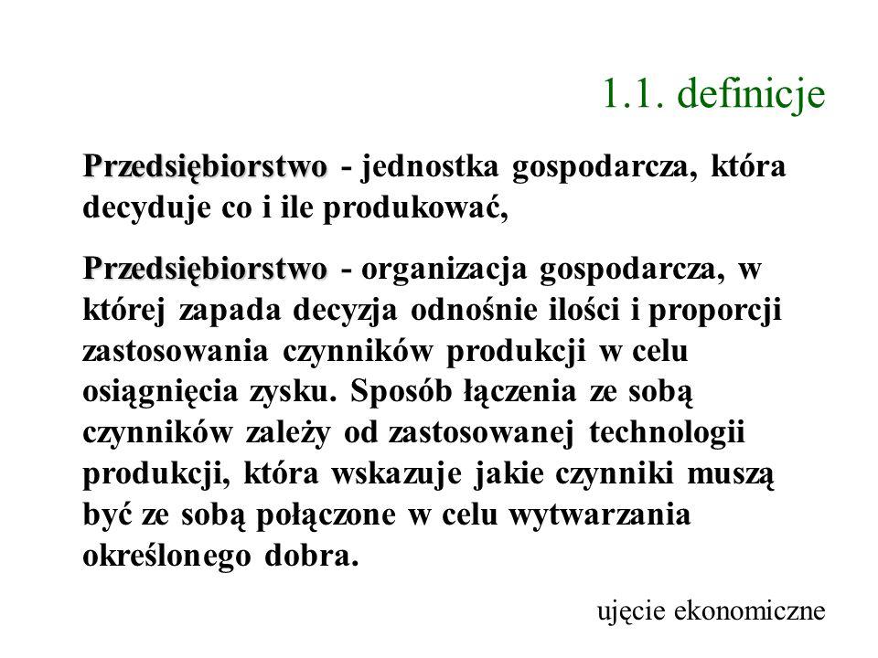1.1. definicje Przedsiębiorstwo Przedsiębiorstwo - jednostka gospodarcza, która decyduje co i ile produkować, Przedsiębiorstwo Przedsiębiorstwo - orga
