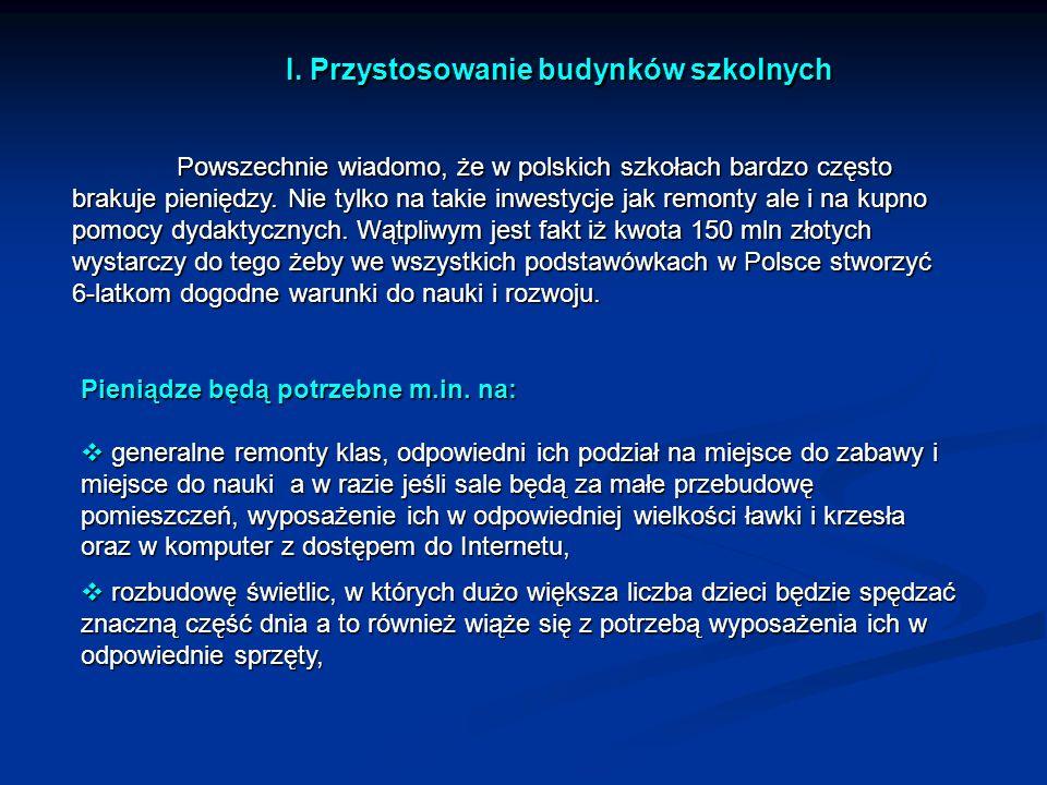 I. Przystosowanie budynków szkolnych Powszechnie wiadomo, że w polskich szkołach bardzo często brakuje pieniędzy. Nie tylko na takie inwestycje jak re