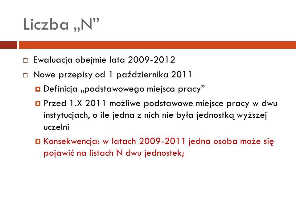 Ewaluacja obejmie lata 2009-2012 Nowe przepisy od 1 października 2011 Definicja podstawowego miejsca pracy Przed 1.X 2011 możliwe podstawowe miejsce p