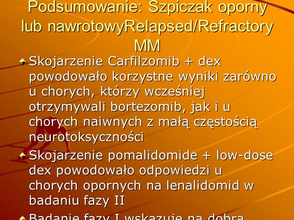 Podsumowanie: Szpiczak oporny lub nawrotowyRelapsed/Refractory MM Skojarzenie Carfilzomib + dex powodowało korzystne wyniki zarówno u chorych, którzy