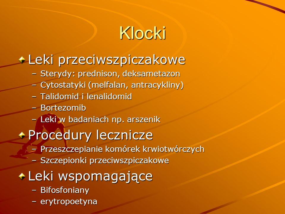 Klocki Leki przeciwszpiczakowe –Sterydy: prednison, deksametazon –Cytostatyki (melfalan, antracykliny) –Talidomid i lenalidomid –Bortezomib –Leki w ba