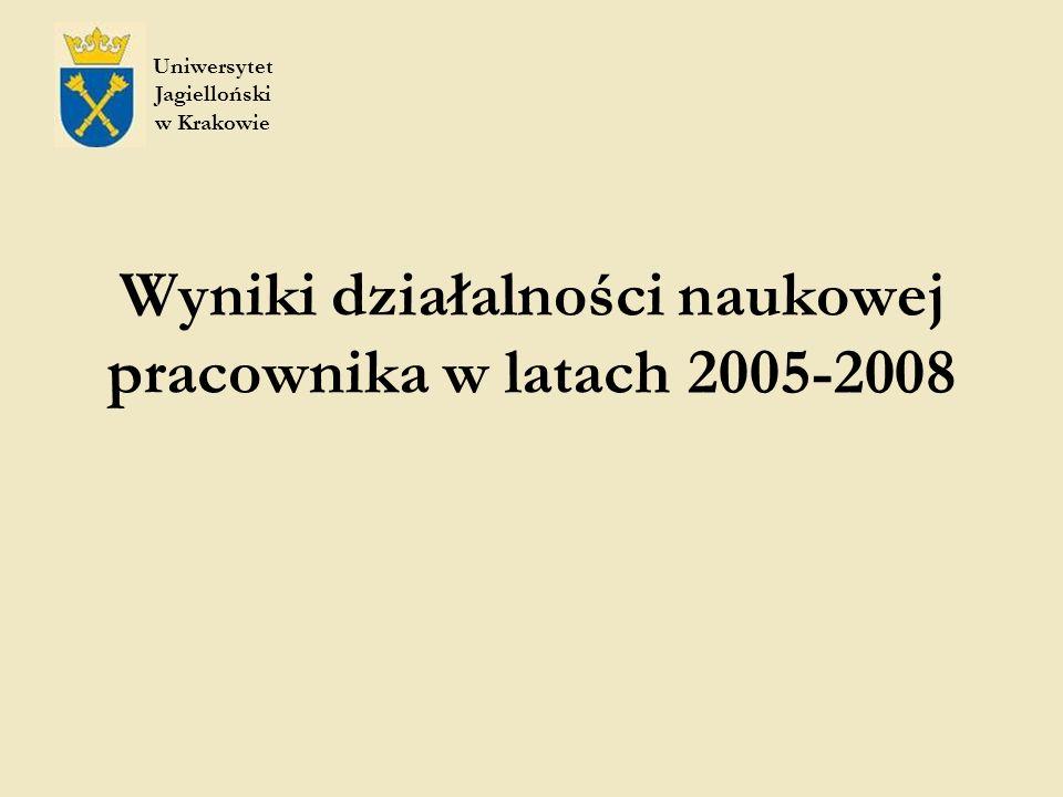 Wyniki działalności naukowej pracownika w latach 2005-2008 Uniwersytet Jagielloński w Krakowie
