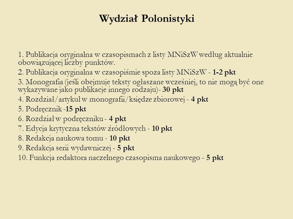 1. Publikacja oryginalna w czasopismach z listy MNiSzW według aktualnie obowiązującej liczby punktów. 2. Publikacja oryginalna w czasopiśmie spoza lis