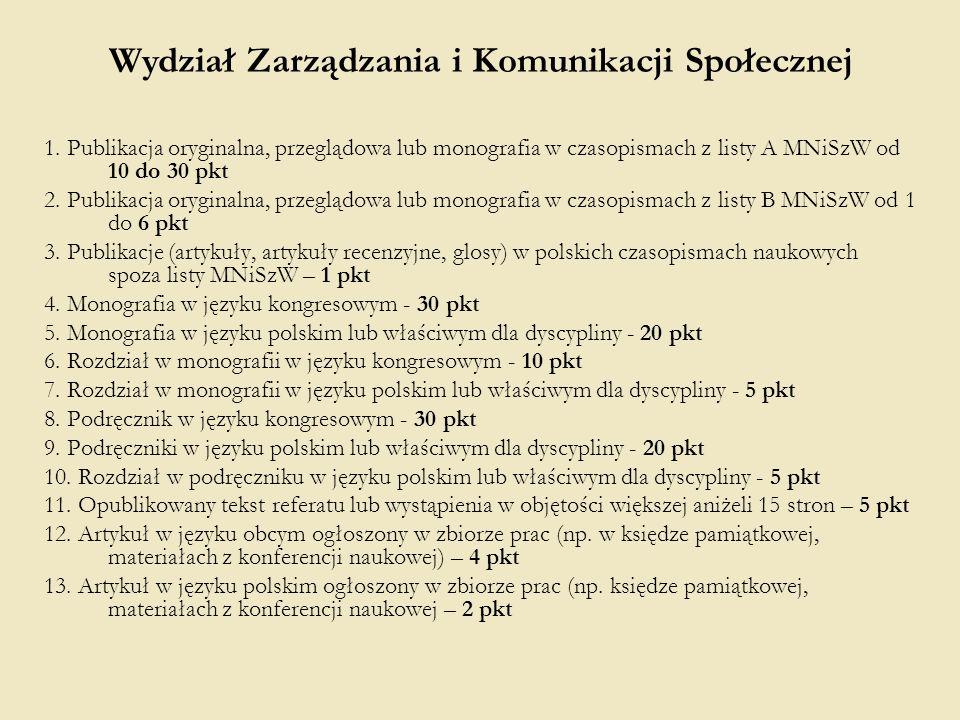 1. Publikacja oryginalna, przeglądowa lub monografia w czasopismach z listy A MNiSzW od 10 do 30 pkt 2. Publikacja oryginalna, przeglądowa lub monogra