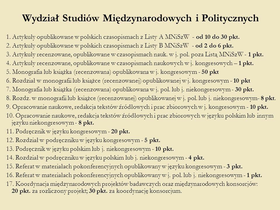 1. Artykuły opublikowane w polskich czasopismach z Listy A MNiSzW - od 10 do 30 pkt. 2. Artykuły opublikowane w polskich czasopismach z Listy B MNiSzW