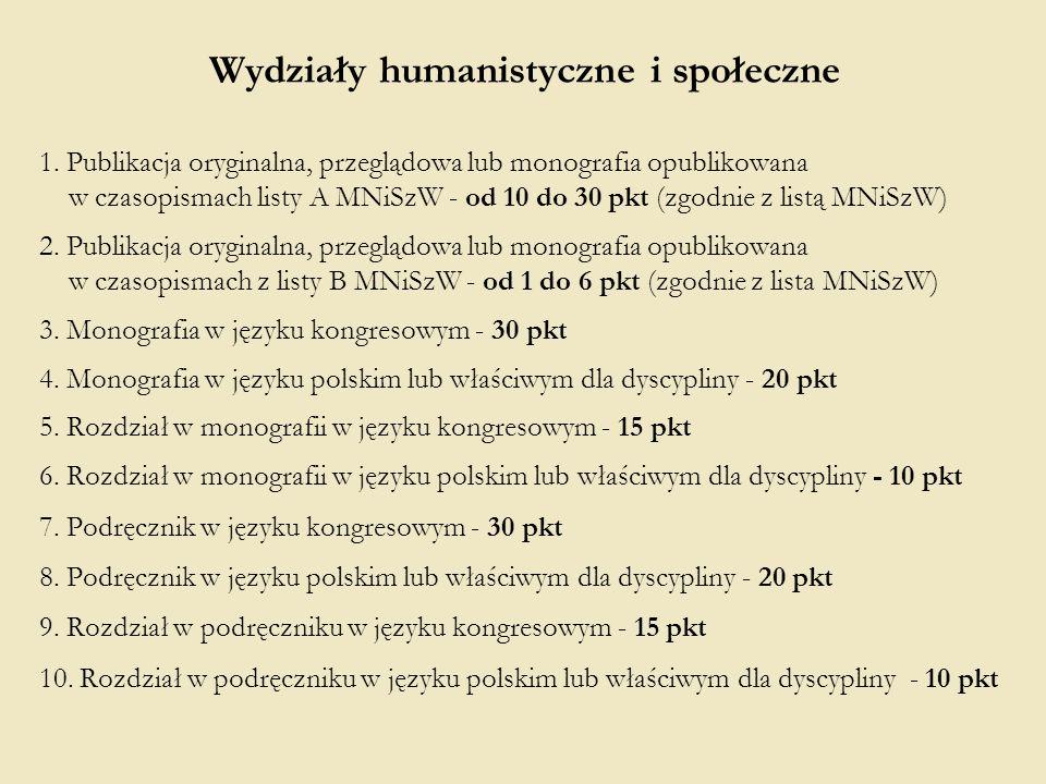 Wydziały humanistyczne i społeczne 1. Publikacja oryginalna, przeglądowa lub monografia opublikowana w czasopismach listy A MNiSzW - od 10 do 30 pkt (