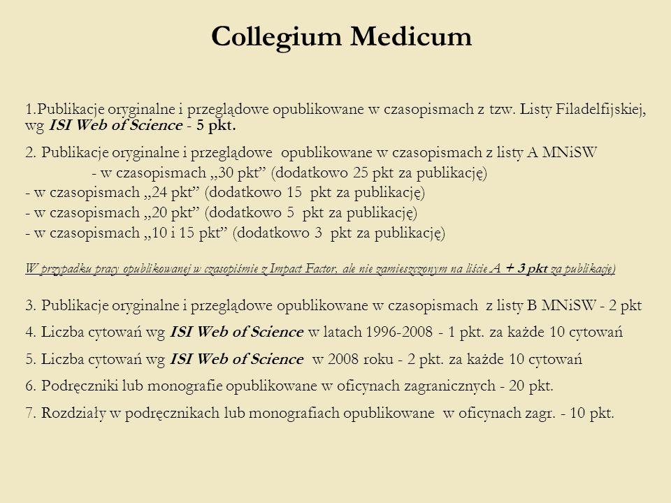 Collegium Medicum 1.Publikacje oryginalne i przeglądowe opublikowane w czasopismach z tzw. Listy Filadelfijskiej, wg ISI Web of Science - 5 pkt. 2. Pu