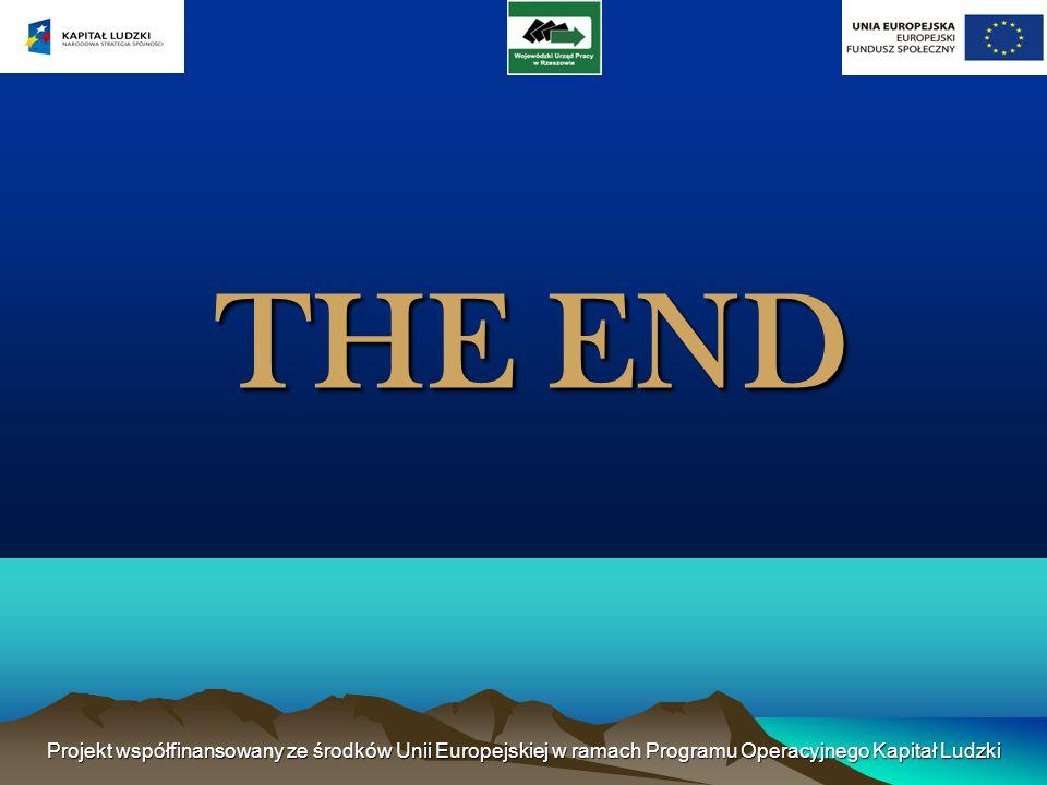Projekt współfinansowany ze środków Unii Europejskiej w ramach Programu Operacyjnego Kapitał Ludzki THE END