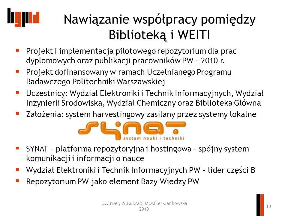 Nawiązanie współpracy pomiędzy Biblioteką i WEITI Projekt i implementacja pilotowego repozytorium dla prac dyplomowych oraz publikacji pracowników PW