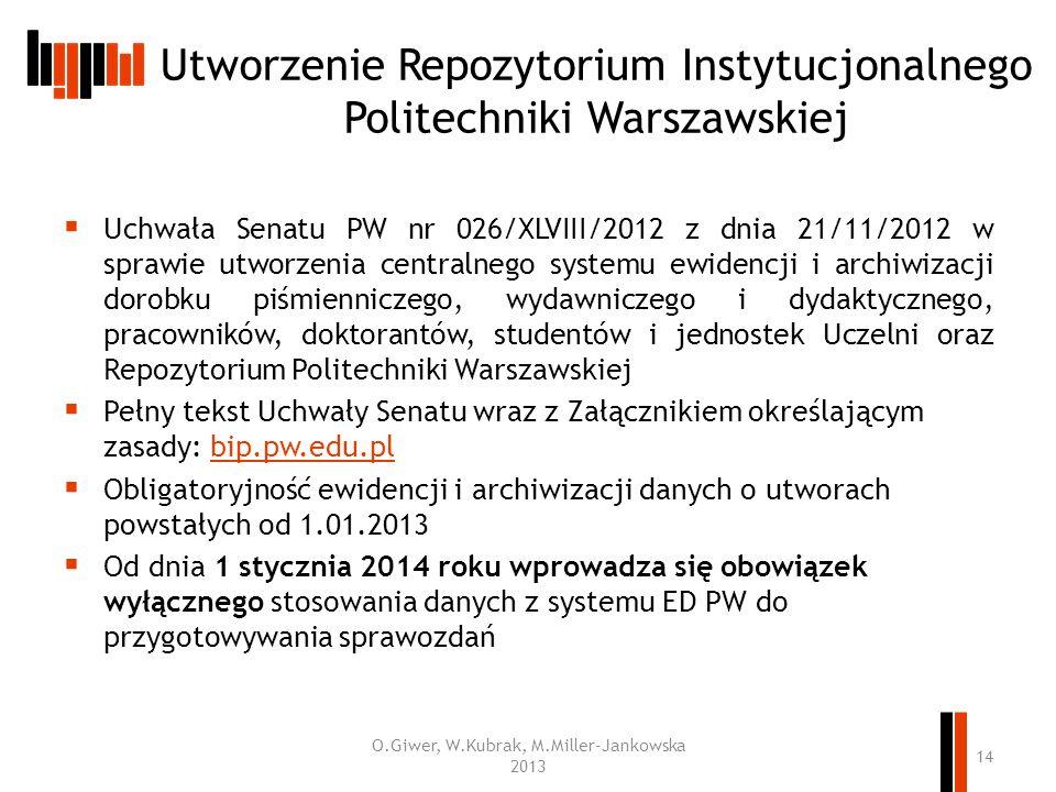 Utworzenie Repozytorium Instytucjonalnego Politechniki Warszawskiej Uchwała Senatu PW nr 026/XLVIII/2012 z dnia 21/11/2012 w sprawie utworzenia centra