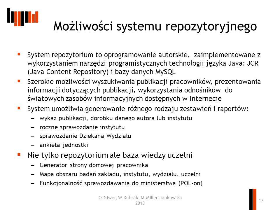 Możliwości systemu repozytoryjnego System repozytorium to oprogramowanie autorskie, zaimplementowane z wykorzystaniem narzędzi programistycznych techn