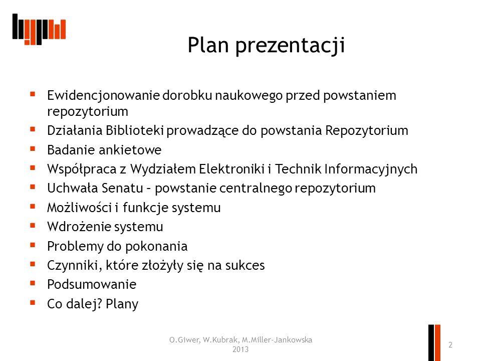 Plan prezentacji Ewidencjonowanie dorobku naukowego przed powstaniem repozytorium Działania Biblioteki prowadzące do powstania Repozytorium Badanie an