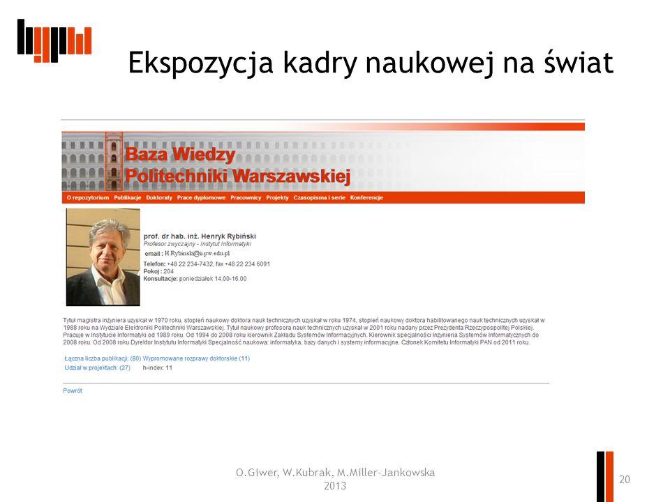 Ekspozycja kadry naukowej na świat O.Giwer, W.Kubrak, M.Miller-Jankowska 2013 20