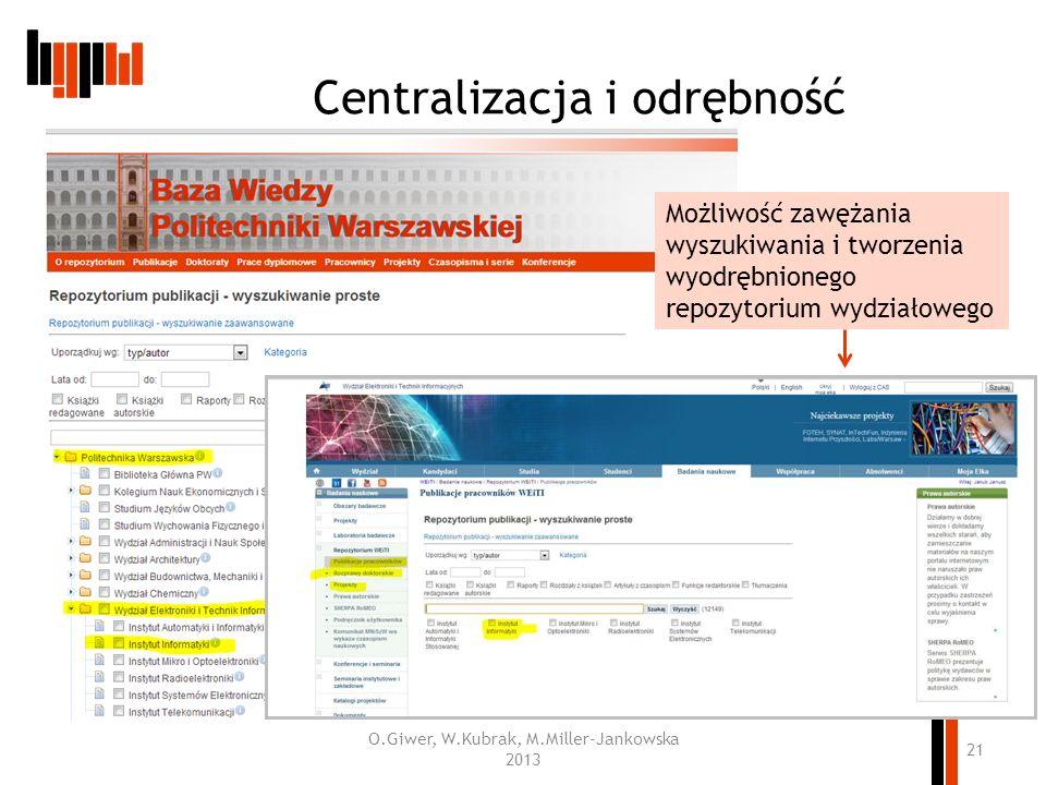Centralizacja i odrębność ww O.Giwer, W.Kubrak, M.Miller-Jankowska 2013 21 Możliwość zawężania wyszukiwania i tworzenia wyodrębnionego repozytorium wy