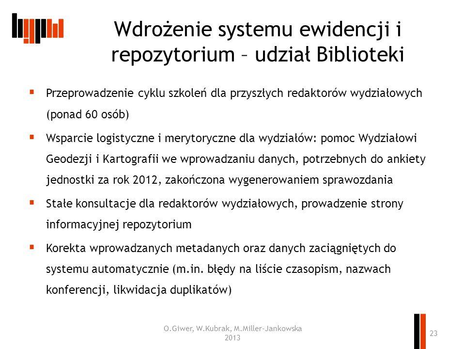 Wdrożenie systemu ewidencji i repozytorium – udział Biblioteki Przeprowadzenie cyklu szkoleń dla przyszłych redaktorów wydziałowych (ponad 60 osób) Ws