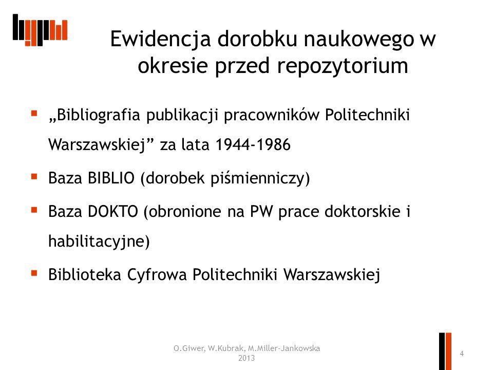 Bibliografia publikacji pracowników Politechniki Warszawskiej za lata 1944-1986 Baza BIBLIO (dorobek piśmienniczy) Baza DOKTO (obronione na PW prace d