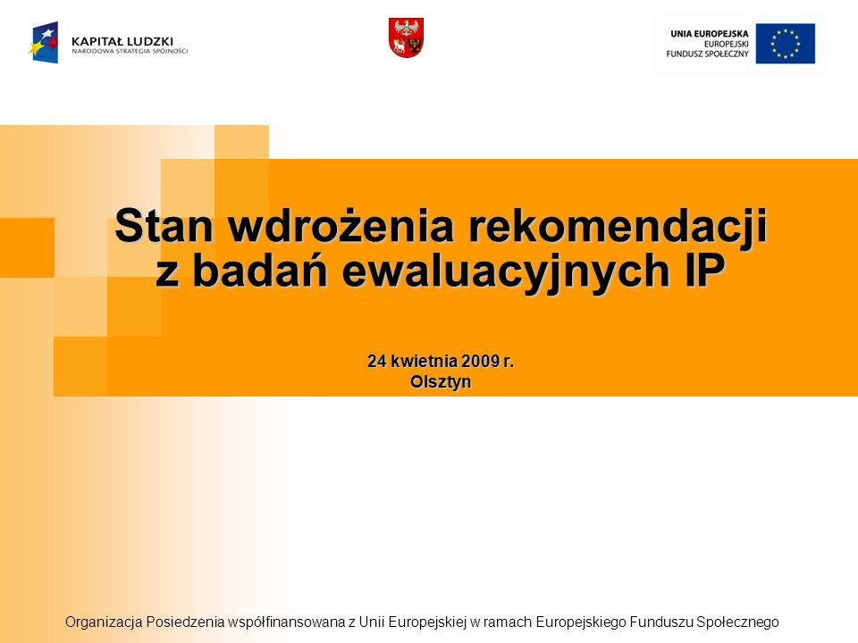 Stan wdrożenia rekomendacji z badań ewaluacyjnych IP 24 kwietnia 2009 r. Olsztyn Organizacja Posiedzenia współfinansowana z Unii Europejskiej w ramach