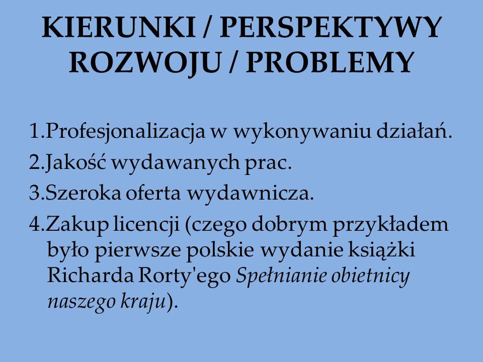 KIERUNKI / PERSPEKTYWY ROZWOJU / PROBLEMY 1.Profesjonalizacja w wykonywaniu działań. 2.Jakość wydawanych prac. 3.Szeroka oferta wydawnicza. 4.Zakup li