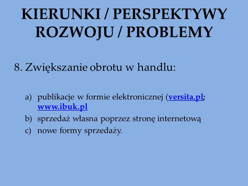 KIERUNKI / PERSPEKTYWY ROZWOJU / PROBLEMY 8. Zwiększanie obrotu w handlu: a)publikacje w formie elektronicznej (versita.pl; www.ibuk.plversita.pl www.