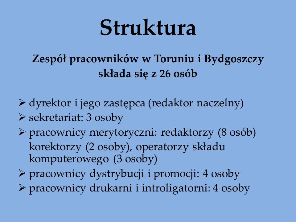 Struktura Zespół pracowników w Toruniu i Bydgoszczy składa się z 26 osób dyrektor i jego zastępca (redaktor naczelny) sekretariat: 3 osoby pracownicy merytoryczni: redaktorzy (8 osób) korektorzy (2 osoby), operatorzy składu komputerowego (3 osoby) pracownicy dystrybucji i promocji: 4 osoby pracownicy drukarni i introligatorni: 4 osoby