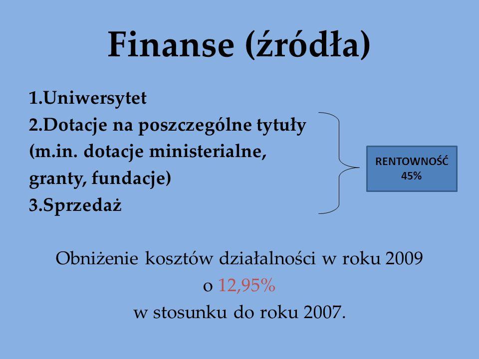 Finanse (źródła) 1.Uniwersytet 2.Dotacje na poszczególne tytuły (m.in. dotacje ministerialne, granty, fundacje) 3.Sprzedaż Obniżenie kosztów działalno