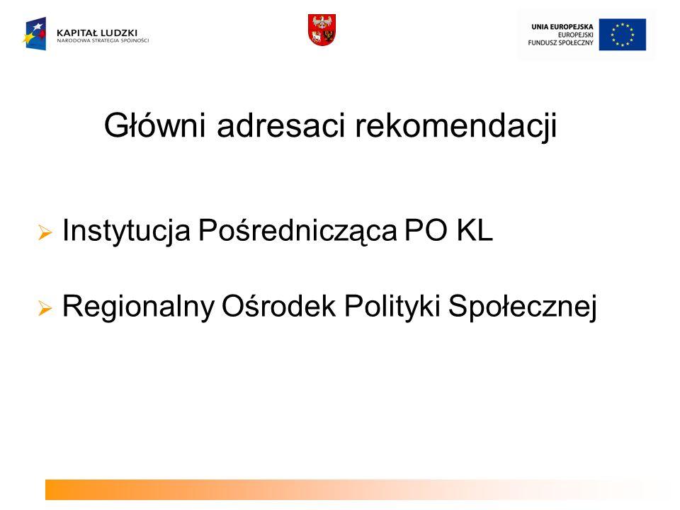Główni adresaci rekomendacji Instytucja Pośrednicząca PO KL Regionalny Ośrodek Polityki Społecznej