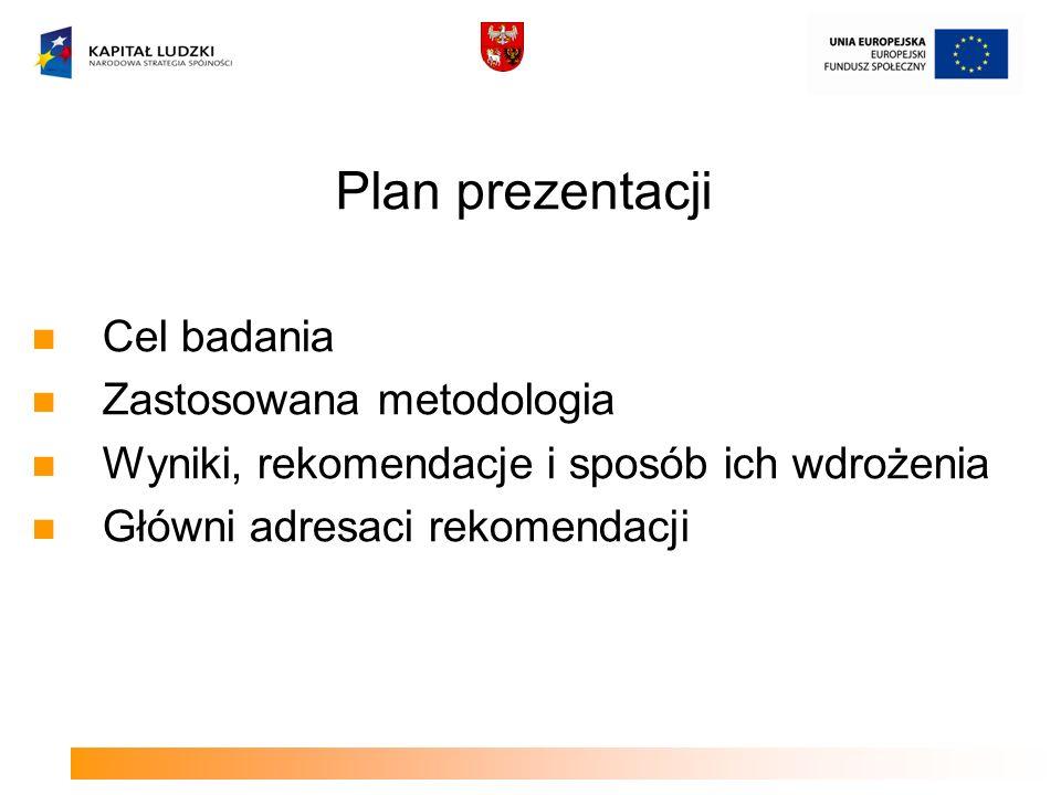 Cel badania Zastosowana metodologia Wyniki, rekomendacje i sposób ich wdrożenia Główni adresaci rekomendacji Plan prezentacji