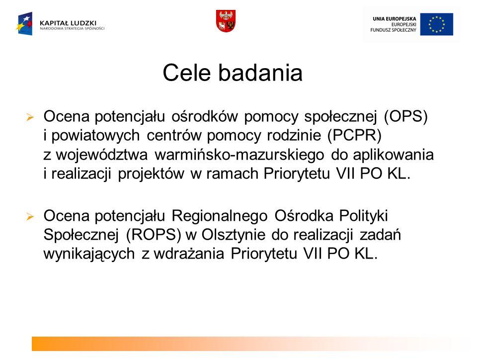 Ocena potencjału ośrodków pomocy społecznej (OPS) i powiatowych centrów pomocy rodzinie (PCPR) z województwa warmińsko-mazurskiego do aplikowania i re