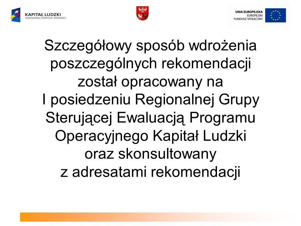 Szczegółowy sposób wdrożenia poszczególnych rekomendacji został opracowany na I posiedzeniu Regionalnej Grupy Sterującej Ewaluacją Programu Operacyjne