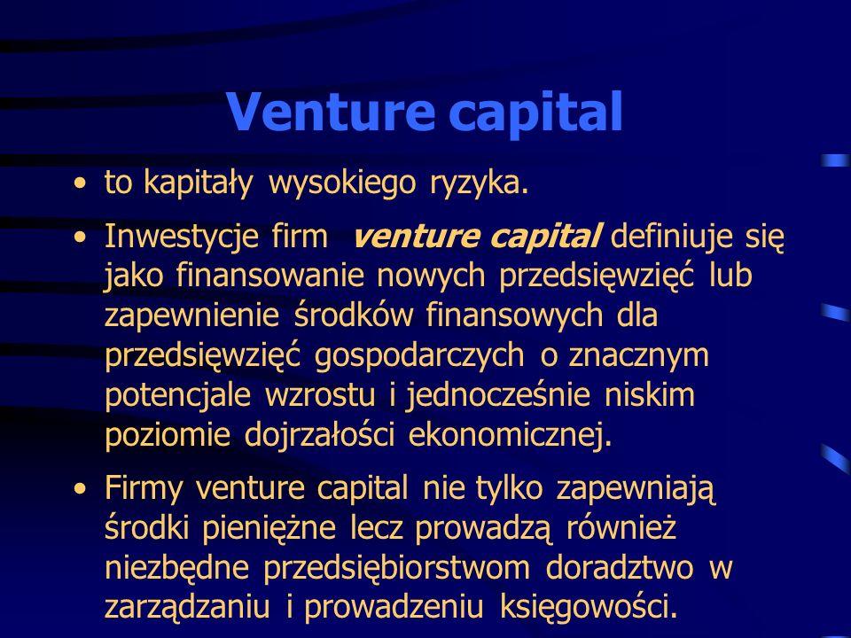 to kapitały wysokiego ryzyka. Inwestycje firm venture capital definiuje się jako finansowanie nowych przedsięwzięć lub zapewnienie środków finansowych