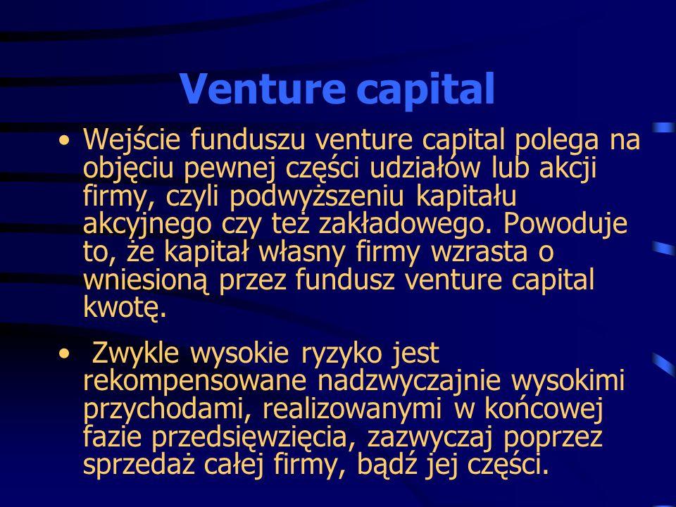 Wejście funduszu venture capital polega na objęciu pewnej części udziałów lub akcji firmy, czyli podwyższeniu kapitału akcyjnego czy też zakładowego.