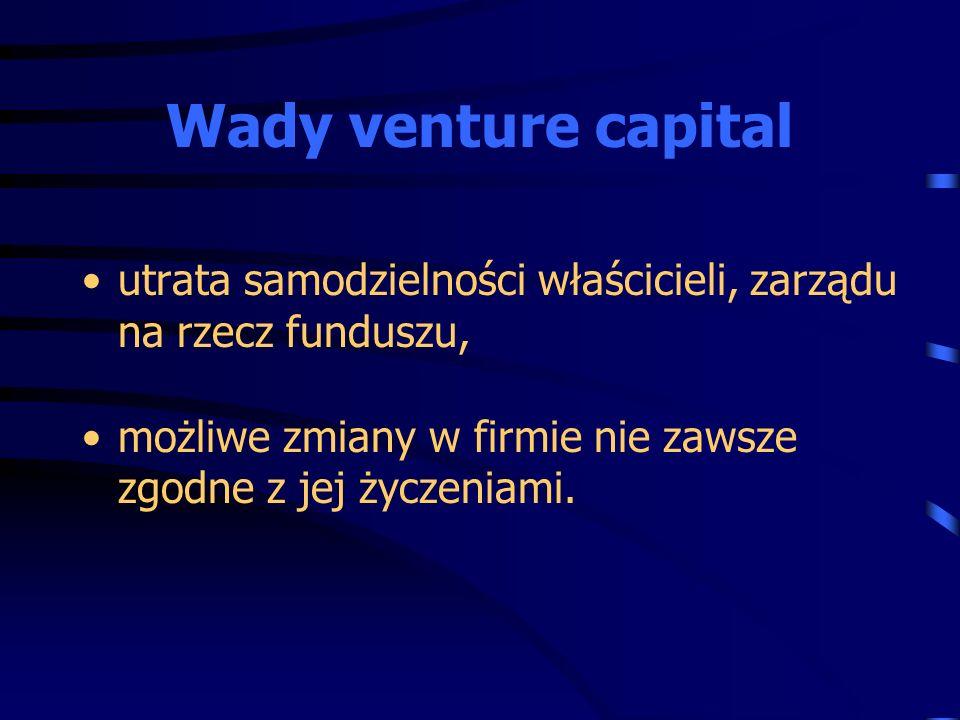 utrata samodzielności właścicieli, zarządu na rzecz funduszu, możliwe zmiany w firmie nie zawsze zgodne z jej życzeniami. Wady venture capital