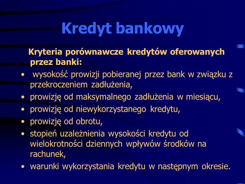 Kryteria porównawcze kredytów oferowanych przez banki: wysokość prowizji pobieranej przez bank w związku z przekroczeniem zadłużenia, prowizję od maks