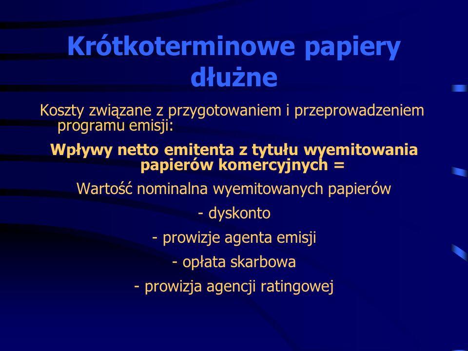 Koszty związane z przygotowaniem i przeprowadzeniem programu emisji: Wpływy netto emitenta z tytułu wyemitowania papierów komercyjnych = Wartość nomin