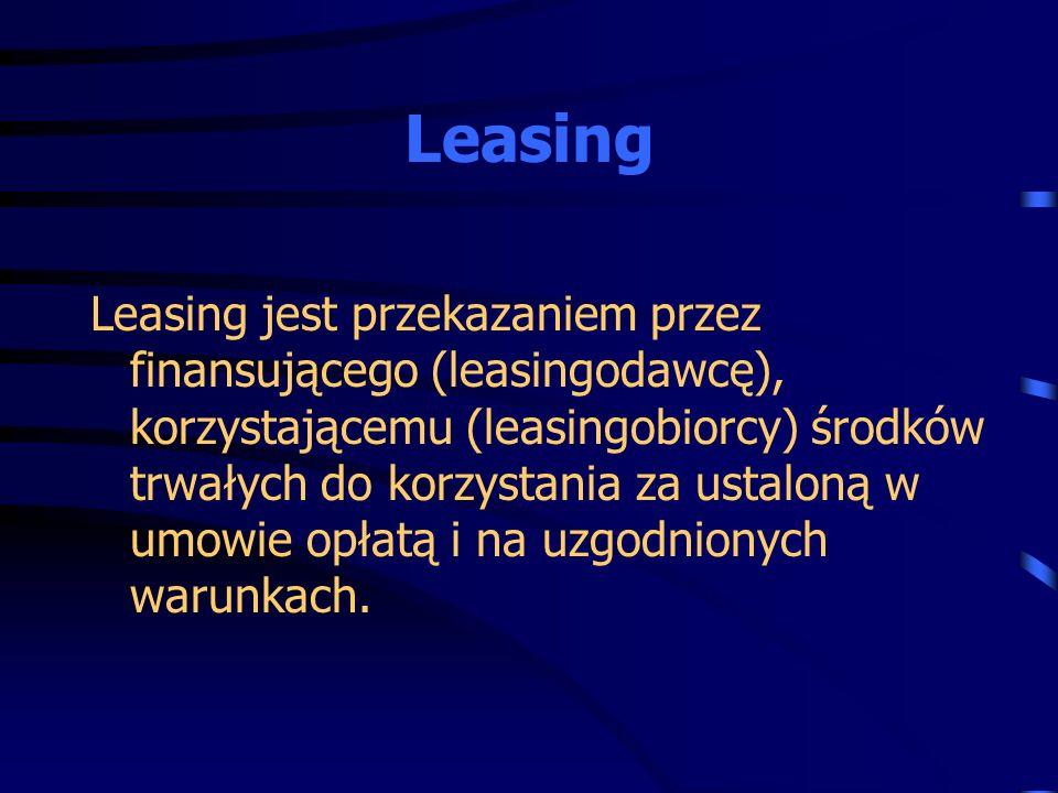 Leasing jest przekazaniem przez finansującego (leasingodawcę), korzystającemu (leasingobiorcy) środków trwałych do korzystania za ustaloną w umowie op