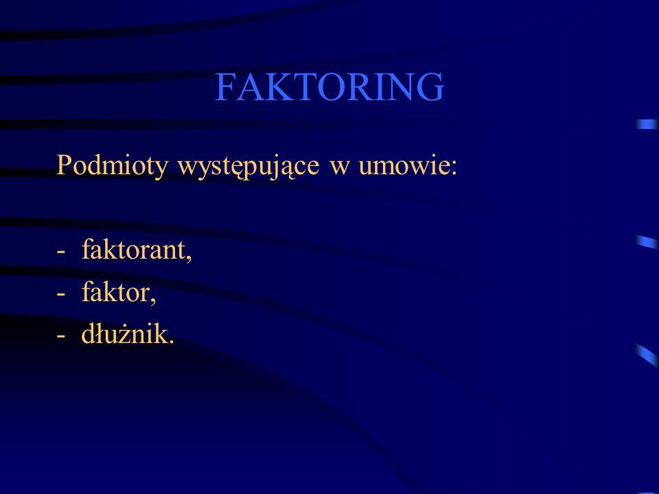 FAKTORING Podmioty występujące w umowie: -faktorant, -faktor, -dłużnik.