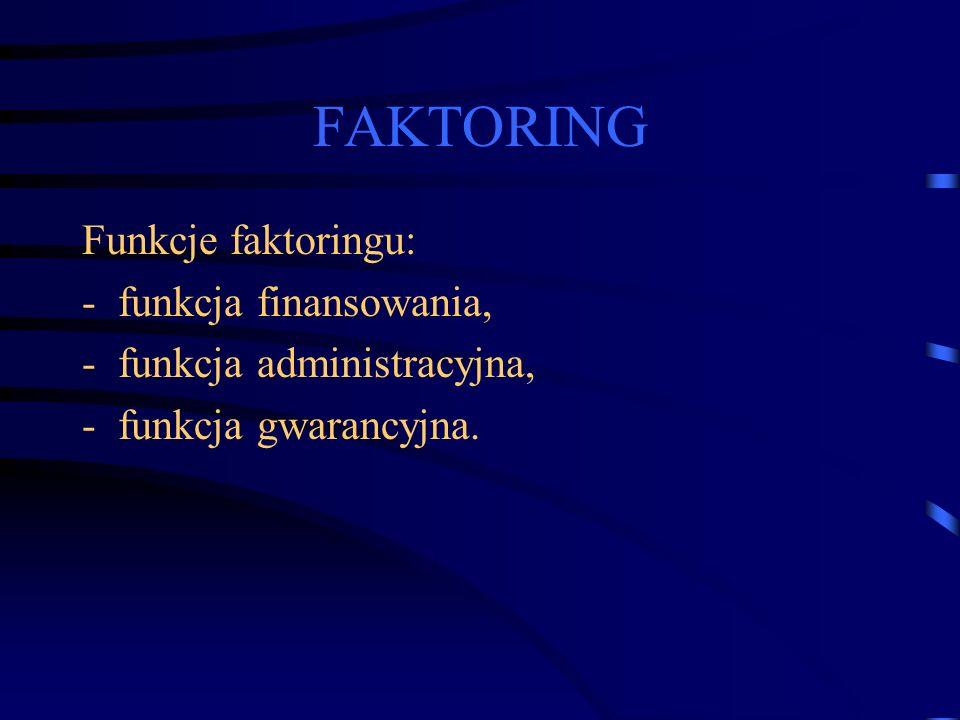FAKTORING Funkcje faktoringu: -funkcja finansowania, -funkcja administracyjna, -funkcja gwarancyjna.