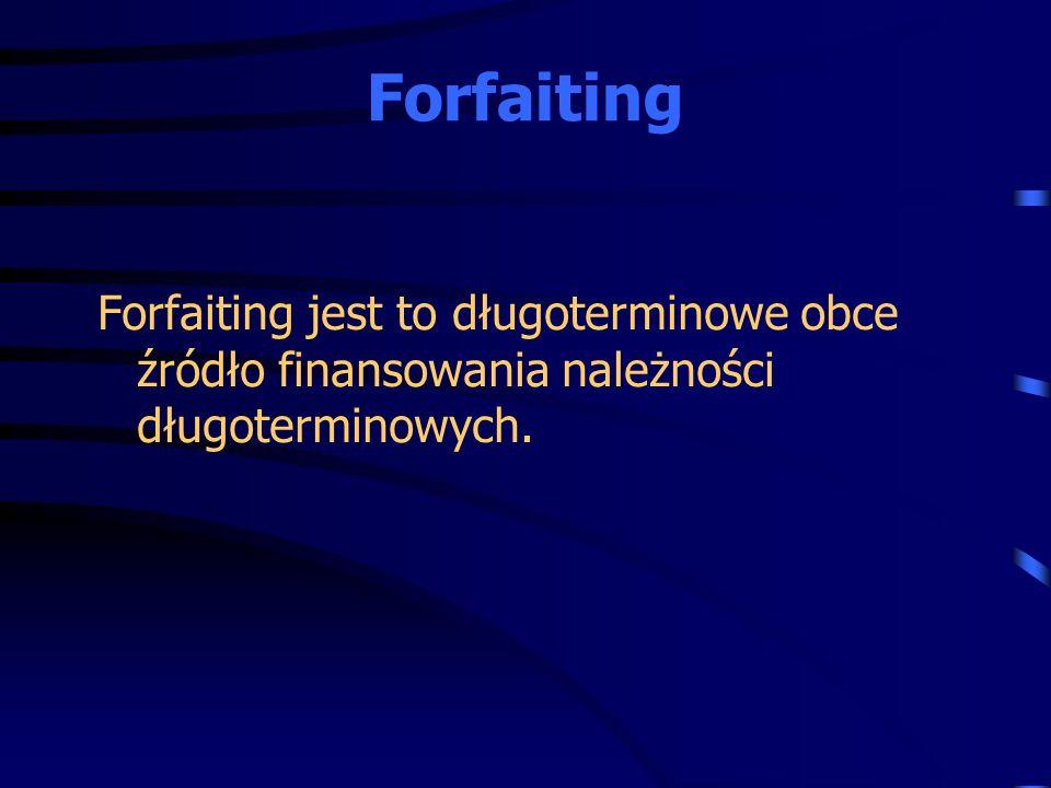Forfaiting jest to długoterminowe obce źródło finansowania należności długoterminowych. Forfaiting