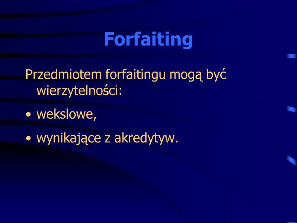 Przedmiotem forfaitingu mogą być wierzytelności: wekslowe, wynikające z akredytyw.