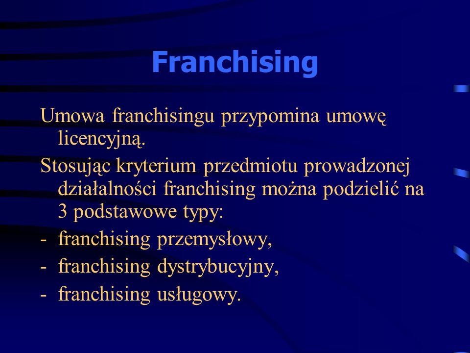 Umowa franchisingu przypomina umowę licencyjną. Stosując kryterium przedmiotu prowadzonej działalności franchising można podzielić na 3 podstawowe typ
