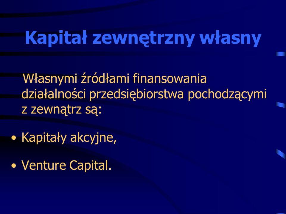 Własnymi źródłami finansowania działalności przedsiębiorstwa pochodzącymi z zewnątrz są: Kapitały akcyjne, Venture Capital. Kapitał zewnętrzny własny
