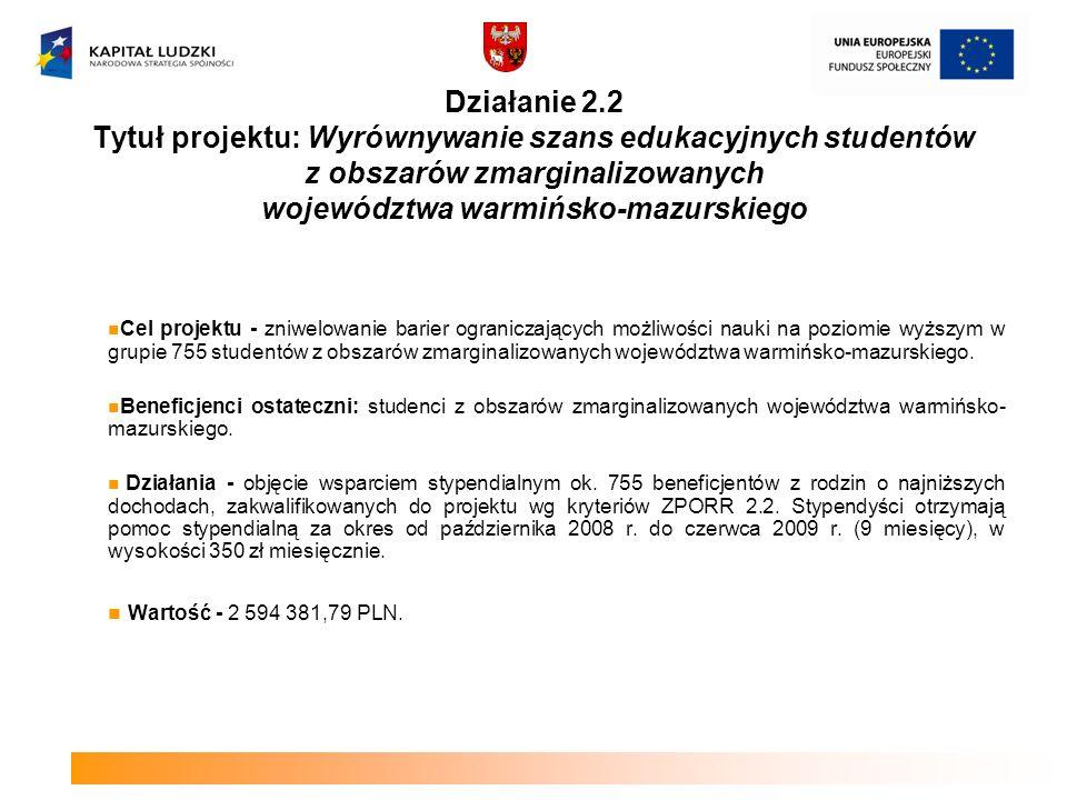Działanie 2.2 Tytuł projektu: Wyrównywanie szans edukacyjnych studentów z obszarów zmarginalizowanych województwa warmińsko-mazurskiego Cel projektu -