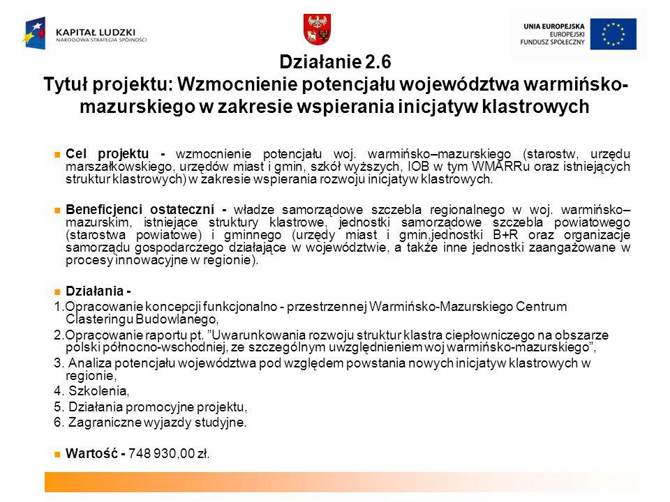 Działanie 2.6 Tytuł projektu: Wzmocnienie potencjału województwa warmińsko- mazurskiego w zakresie wspierania inicjatyw klastrowych Cel projektu - wzm